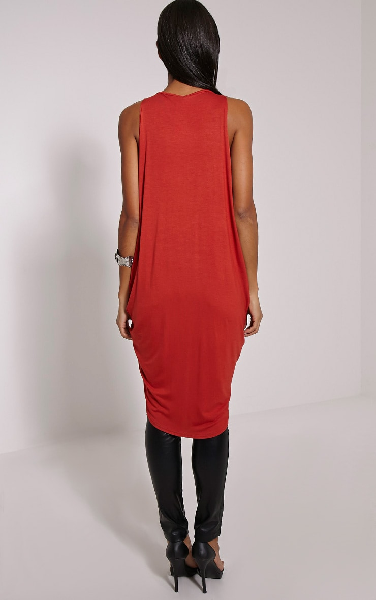 Rust Long Twist Front Sleeveless Top 2
