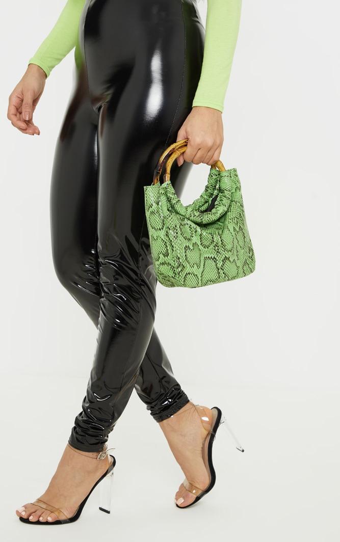 bcc7b6e50867 Neon Lime Snake Printed Bamboo Handle Mini Grab Bag image 1