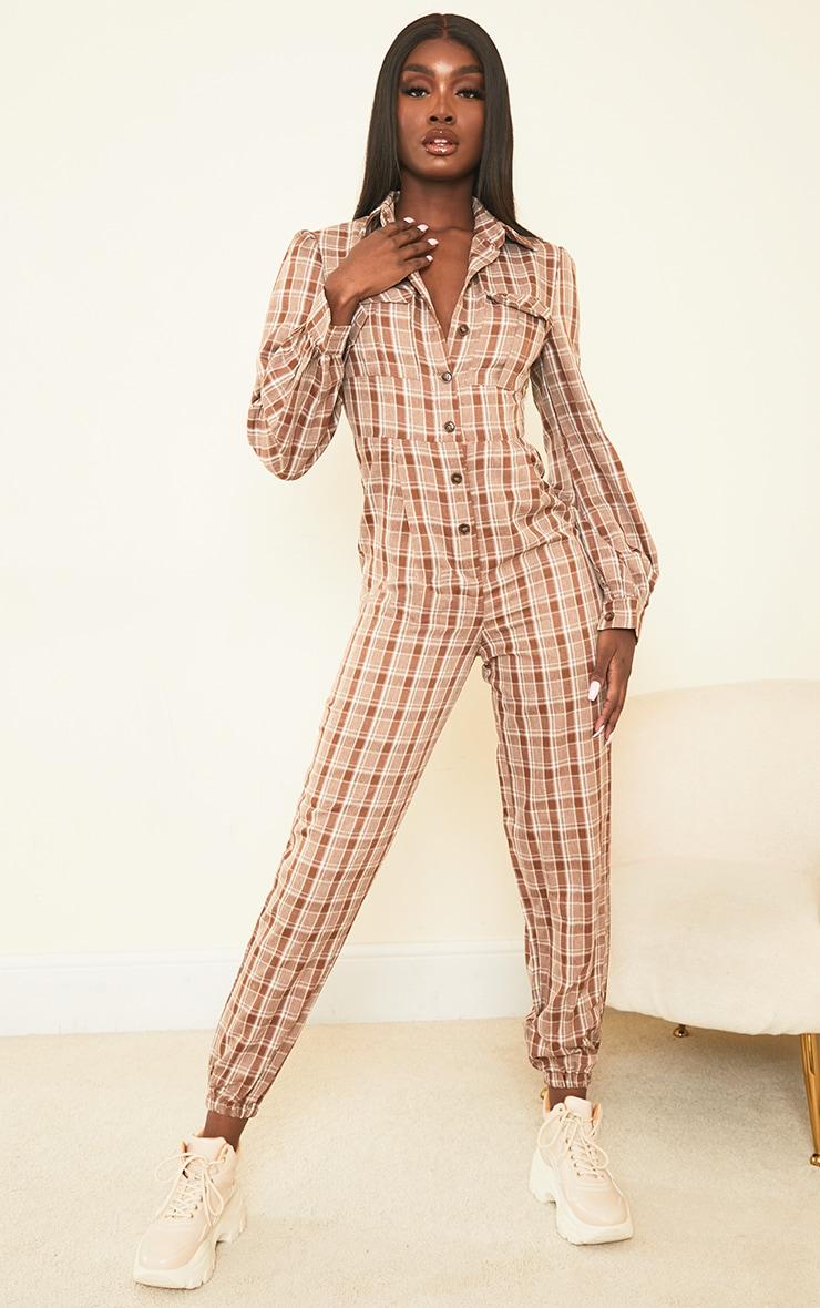 Tall Brown Check Pocket Detail Shirt Jumpsuit 1