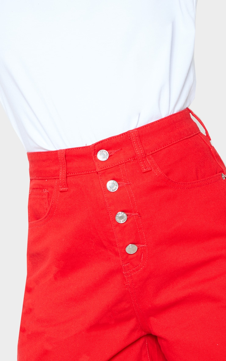 Red Exposed Button Turn Up Detail Mom Shorts  6