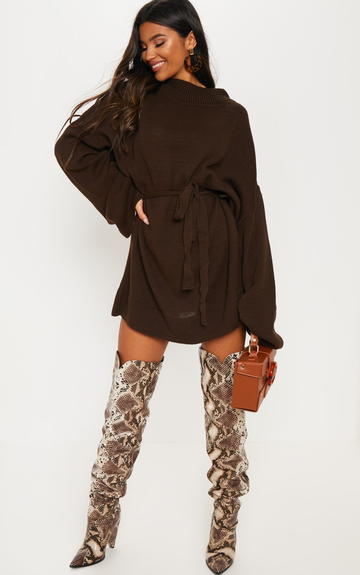 Brown Oversized Knitted Belted Dress  4