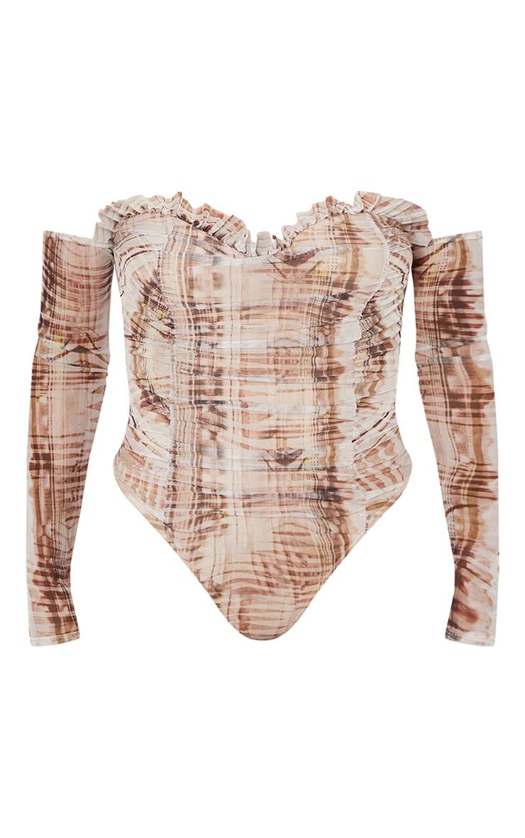 Stone  Abstract Print Mesh Ruched Bardot Bodysuit 5