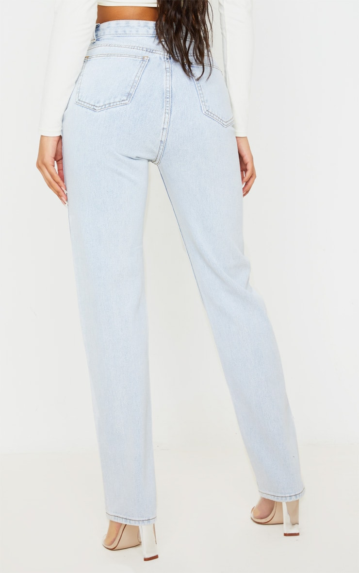 Light Wash Long Leg Straight Jeans 4
