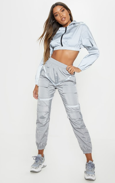 Grey Reflective Tape Cargo Trousers