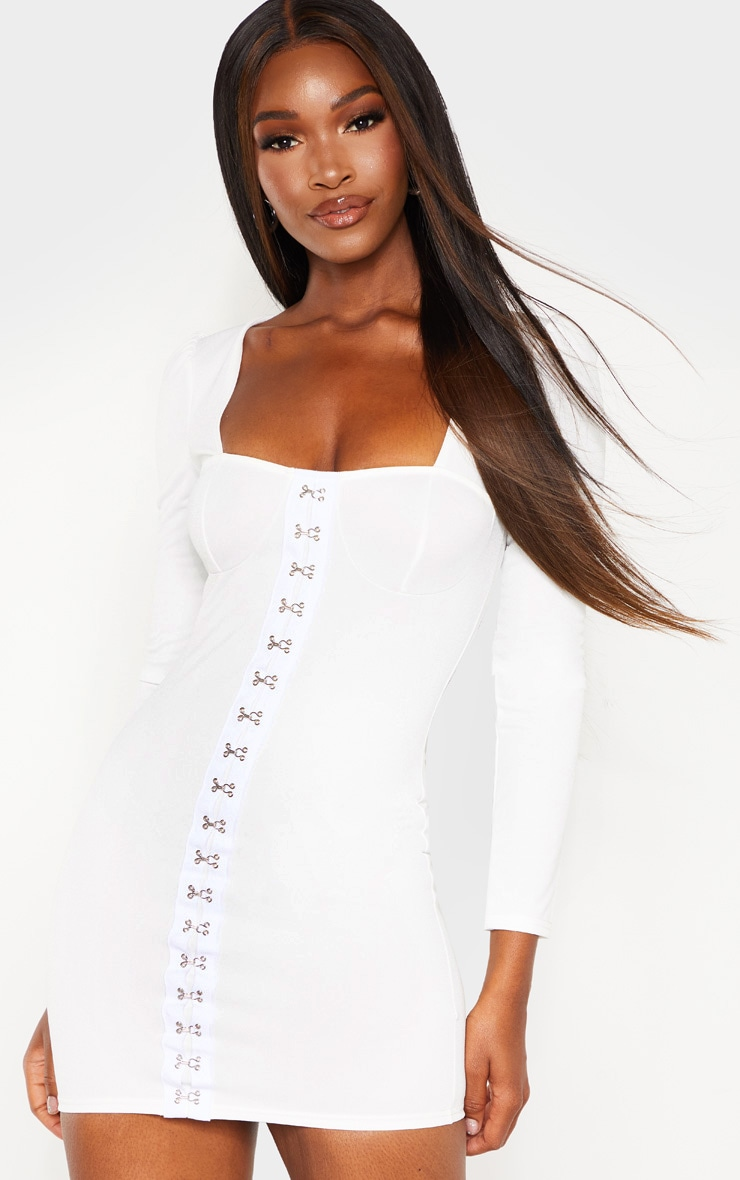 White Long Sleeve Cup Detail Hook and Eye Bodycon Dress 4