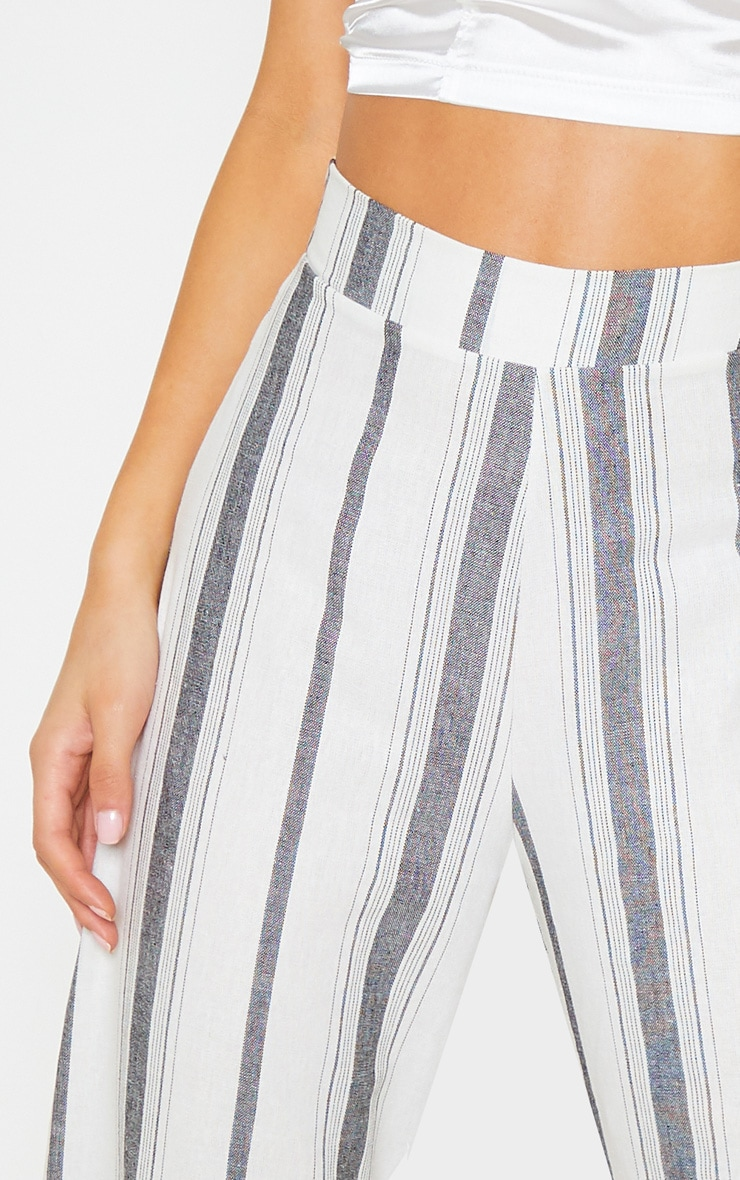 Mono Stripe Linen Wide Leg Trouser 5
