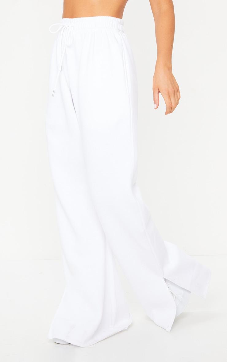 White Drawstring Waist Split Hem Flare Jogger 2