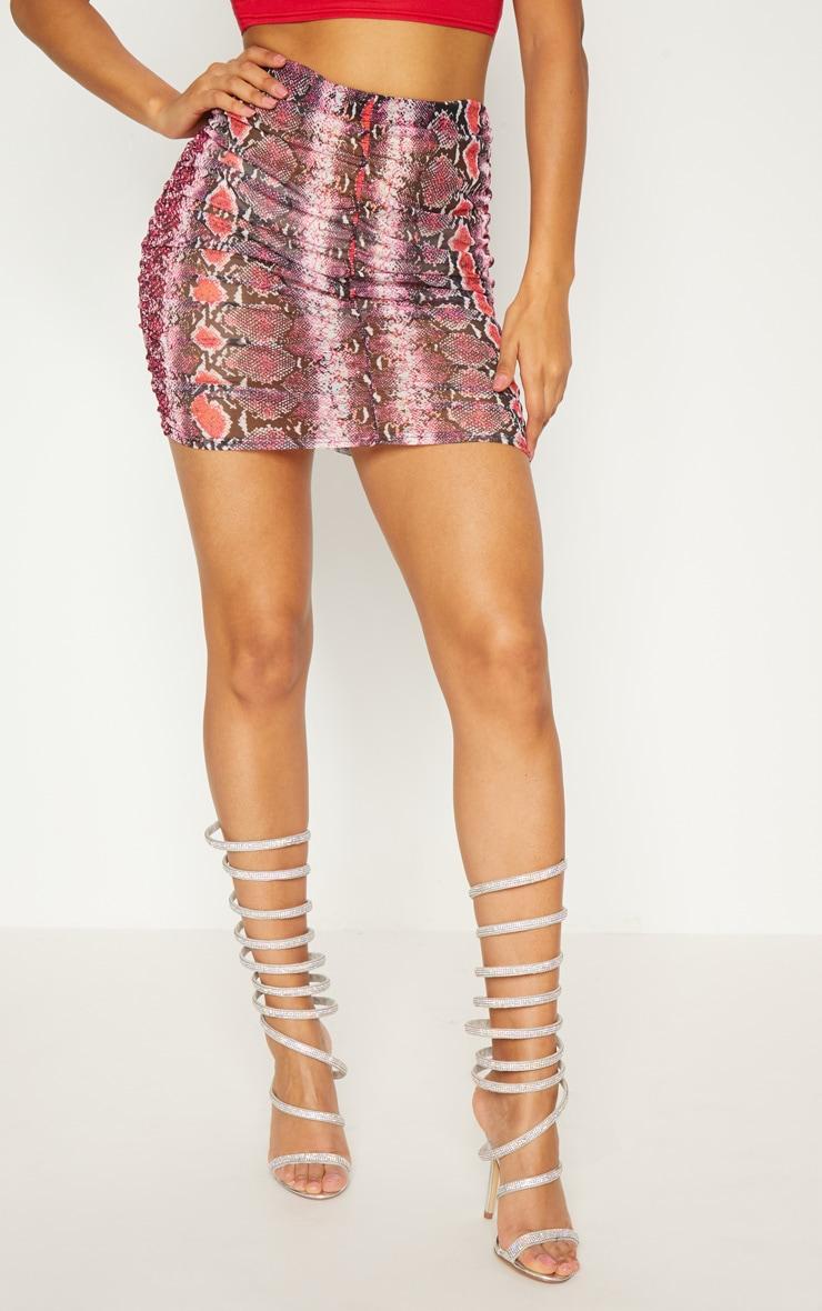 Pink Mesh Snake Print Ruche Mini Skirt 2