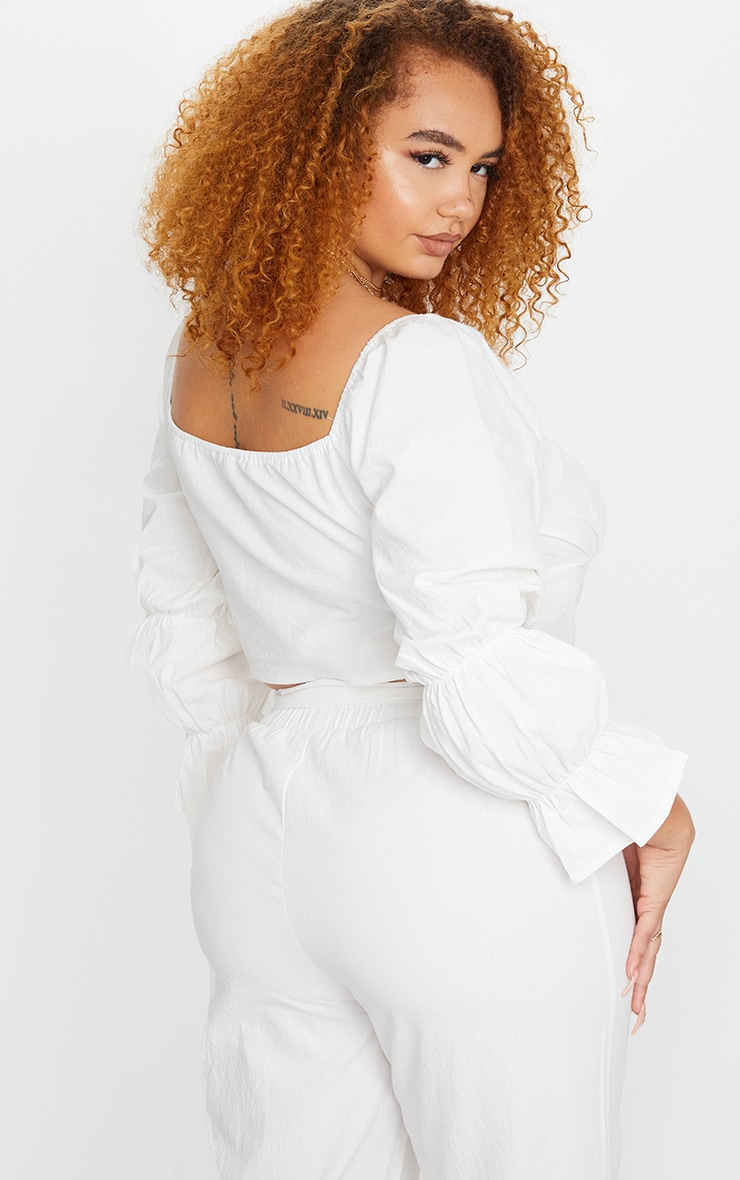 Plus White Woven Button Front Crop Top 2
