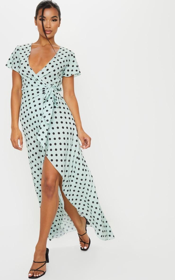Sage Green Polka Dot Tie Waist Maxi Dress 1