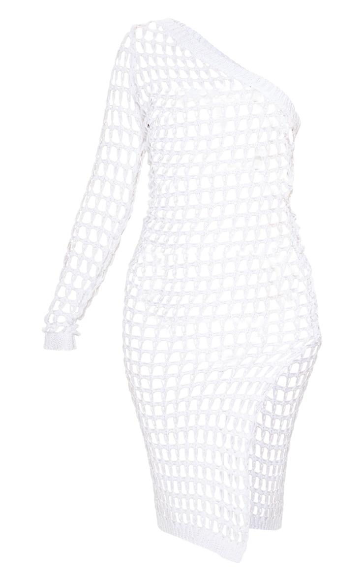 White Ladder Crochet Asymmetric Dress 7