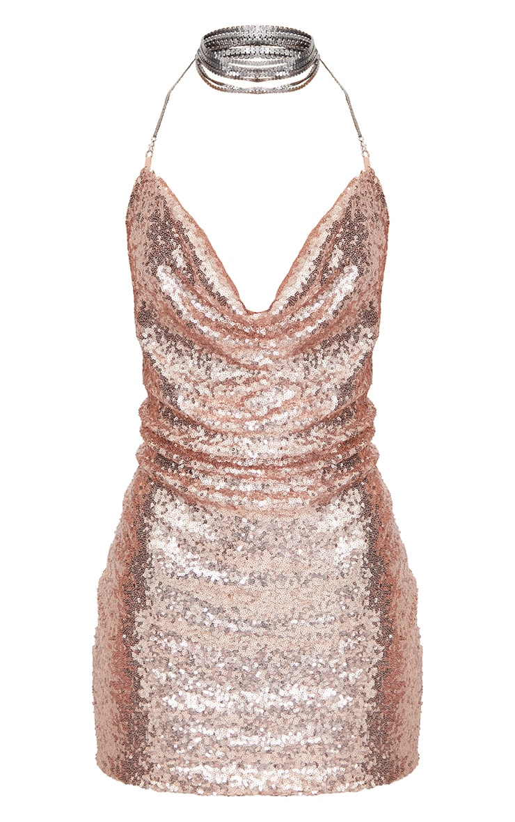 Rose Gold Sequin Chain Choker Mini Dress  4