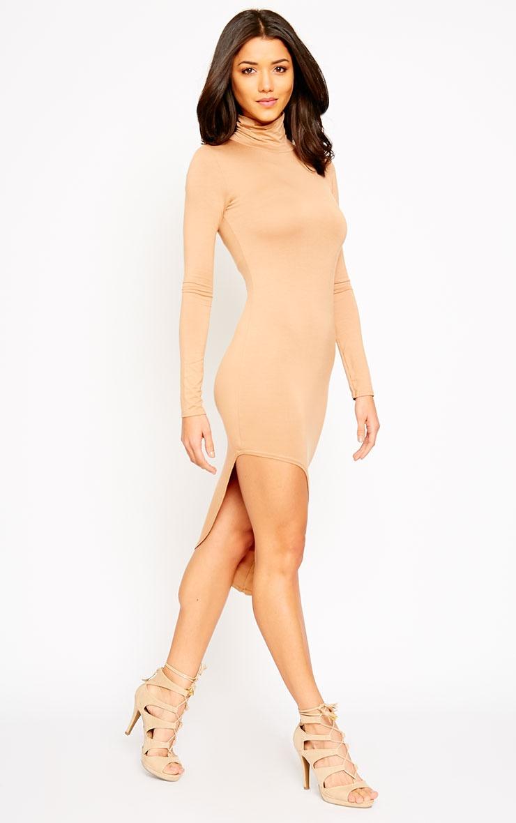 Ricky Camel High Neck Jersey Dress 3