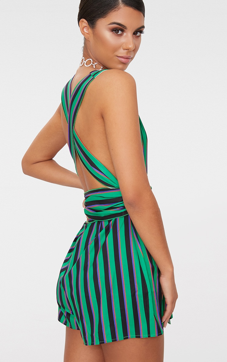 Green Stripe Tie Back Playsuit 2