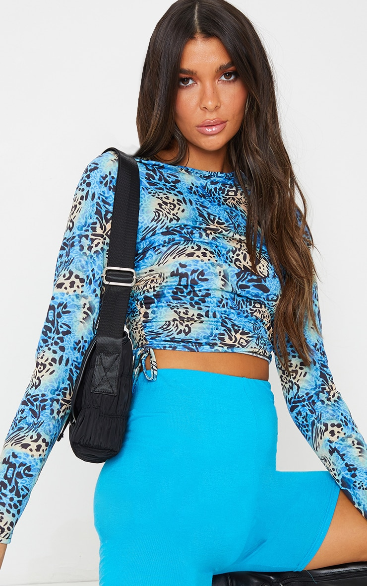 Blue Printed Jersey Ruched Side Long Sleeve Top 1