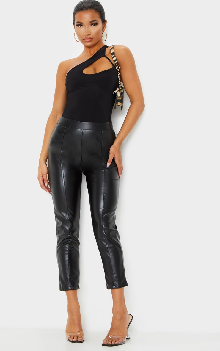 Daysha Black Cropped Faux Leather Pants 1