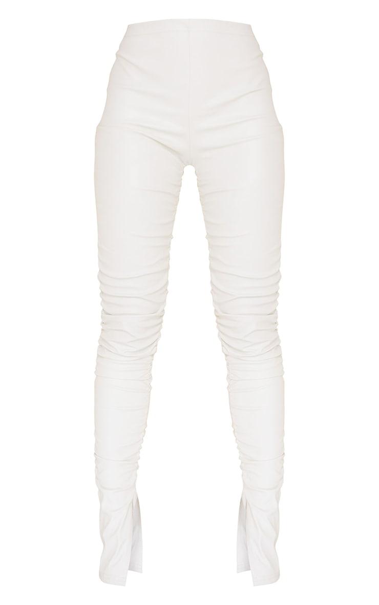 Cream Faux Leather Ruched Leg Split Hem Leggings 5