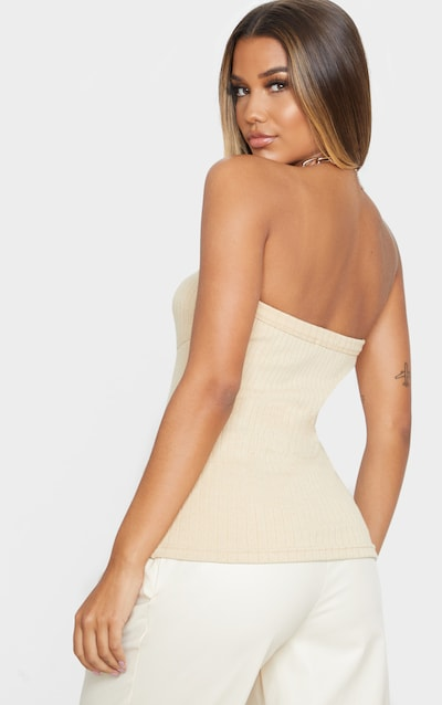 Stone Structured Rib Bandeau Top