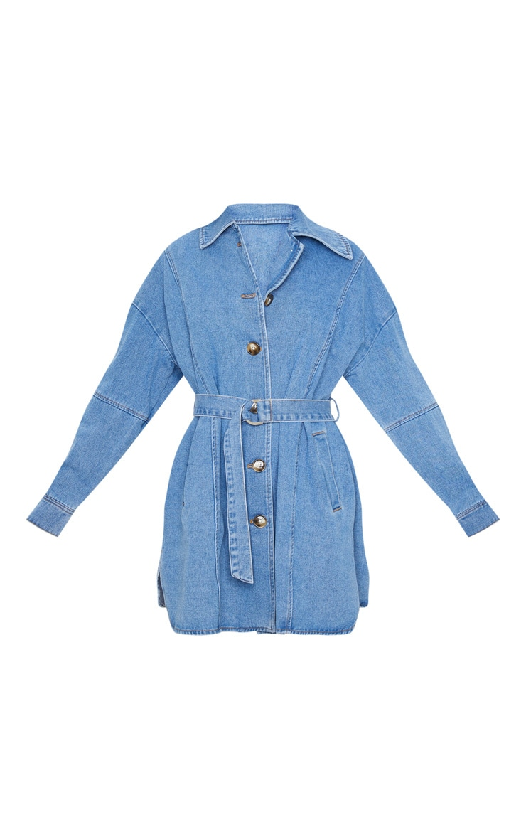 Mid Blue Wash Tortoise Button Tie Waist Denim Shirt Dress 3