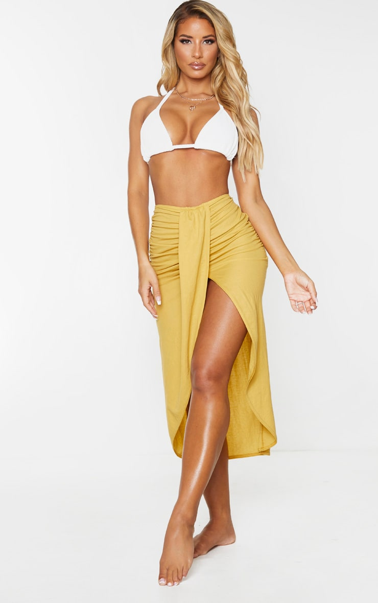 Yellow Knot Front Wrapped Sarong 1