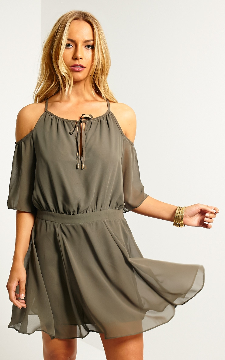 Emeline Khaki Cold Shoulder Skater Dress 4