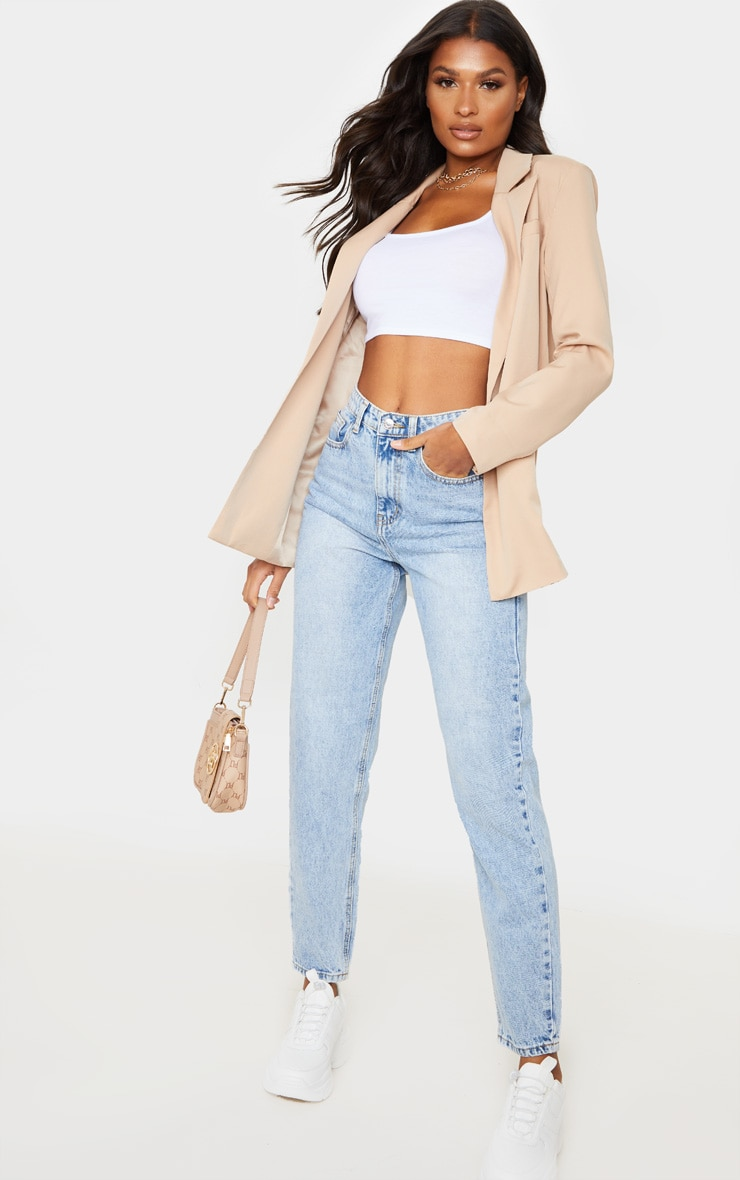 PRETTYLITTLETHING Light Wash Acid Mom Jean 1