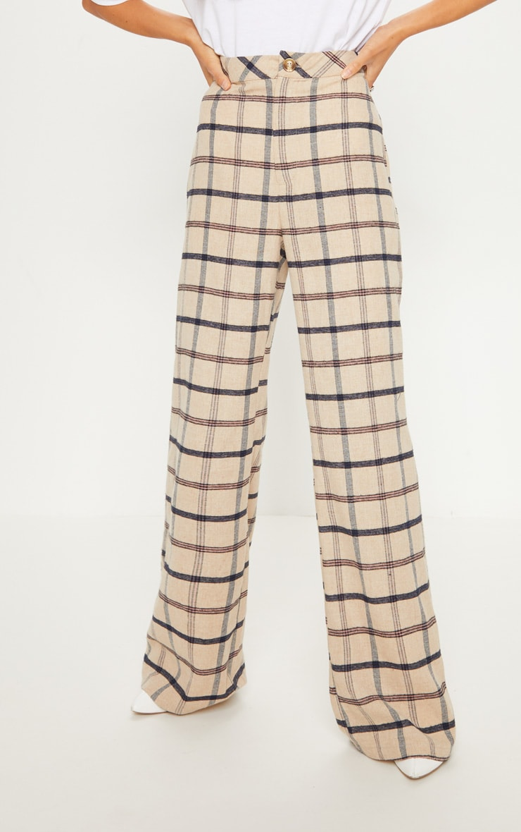 Stone Check Wide Leg Pants 2