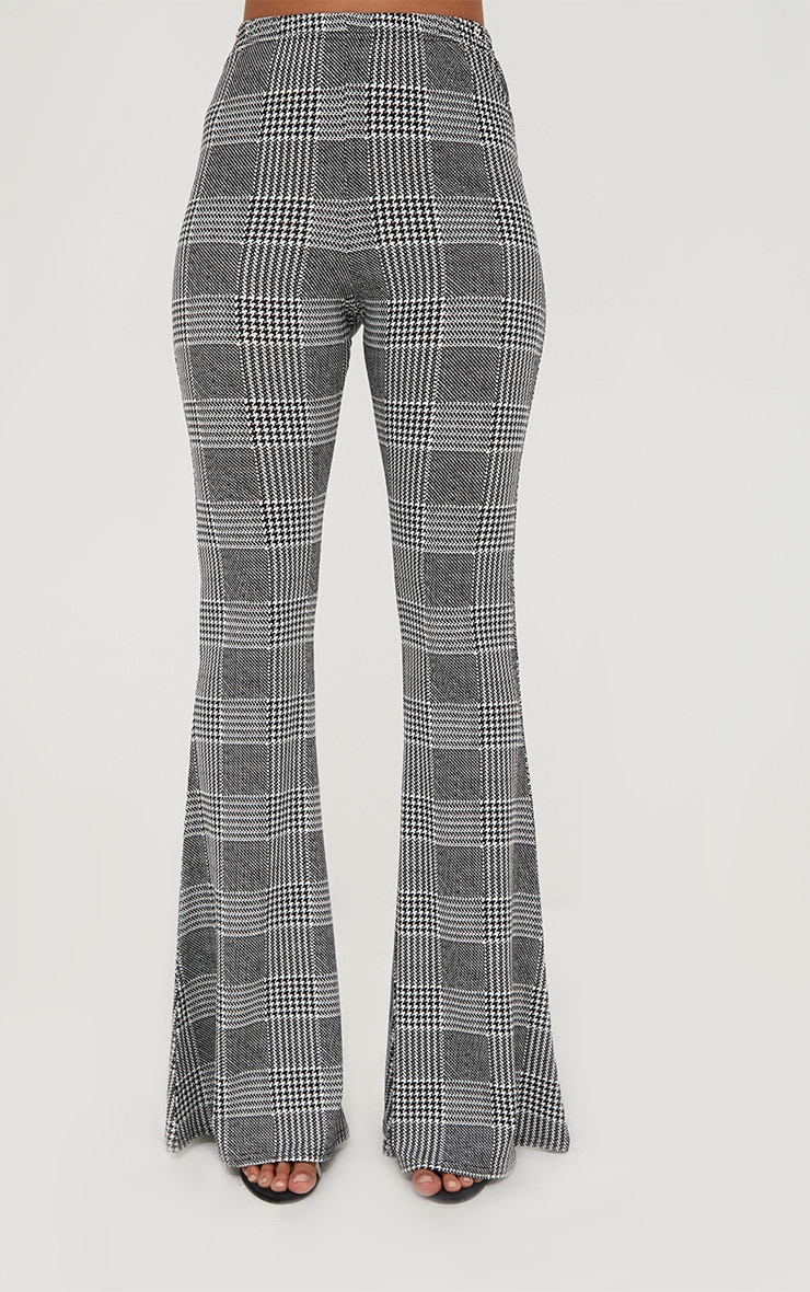 Grey Dogtooth Check Flared Trousers 2
