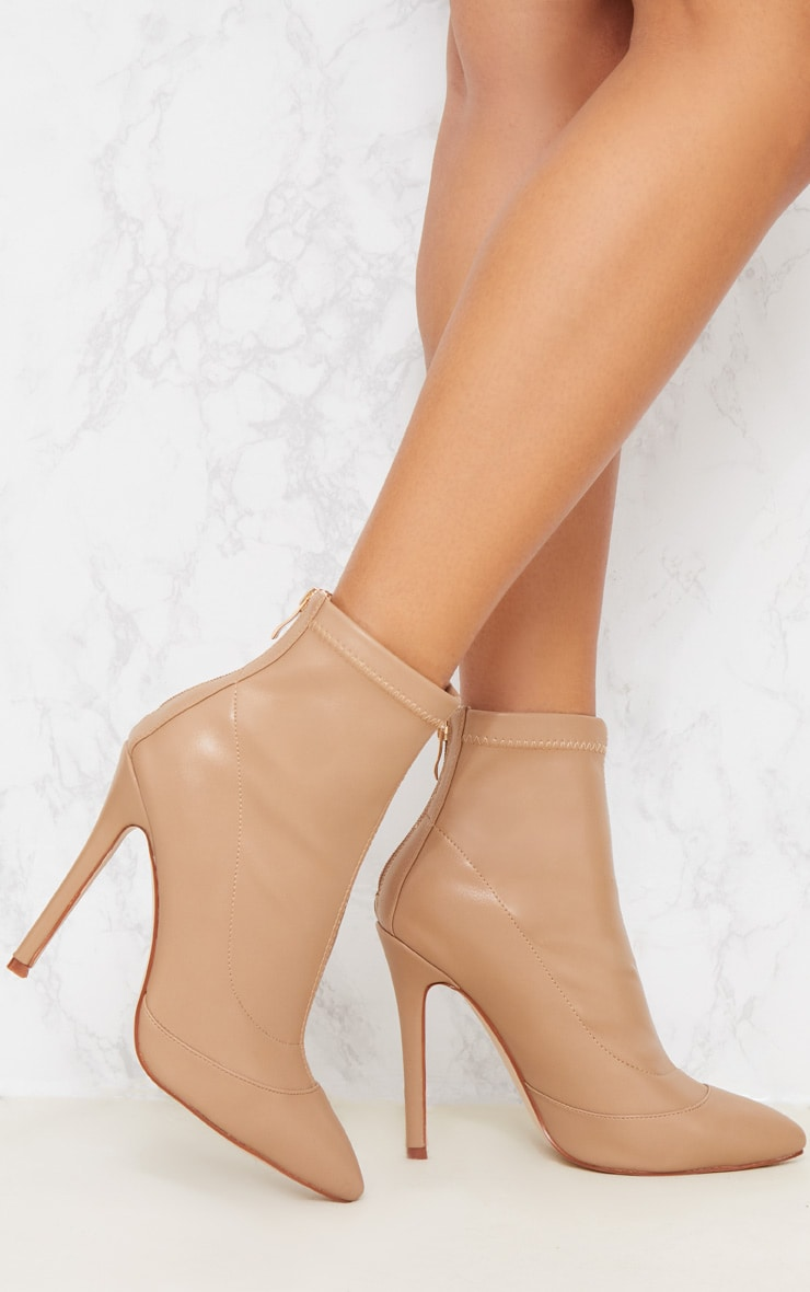 Warm Beige PU Pointed Ankle Sock Boot 2
