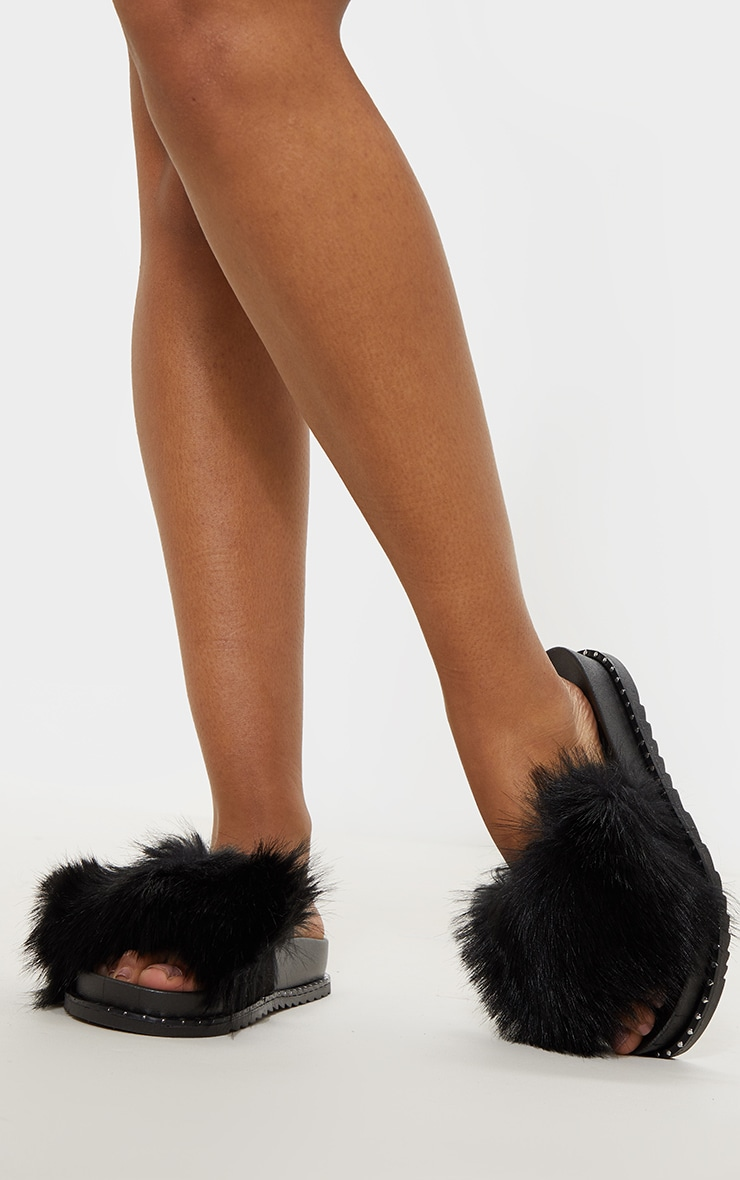 Black Faux Fur Studded Slides 1