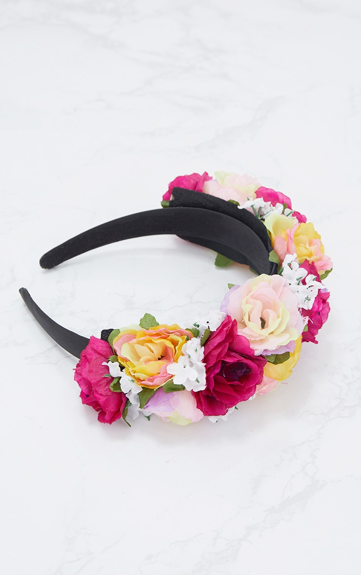 Pink Multi Floral Statement Headband 3