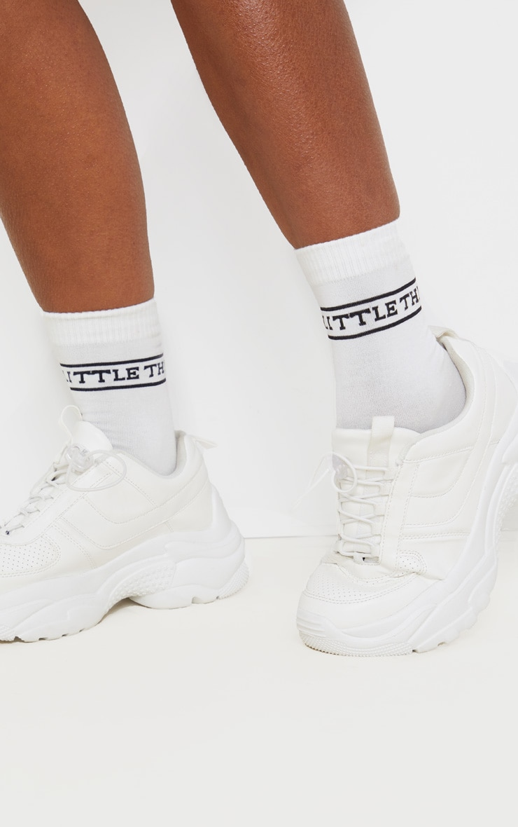 PRETTYLITTLETHING Logo White Ankle Socks 2