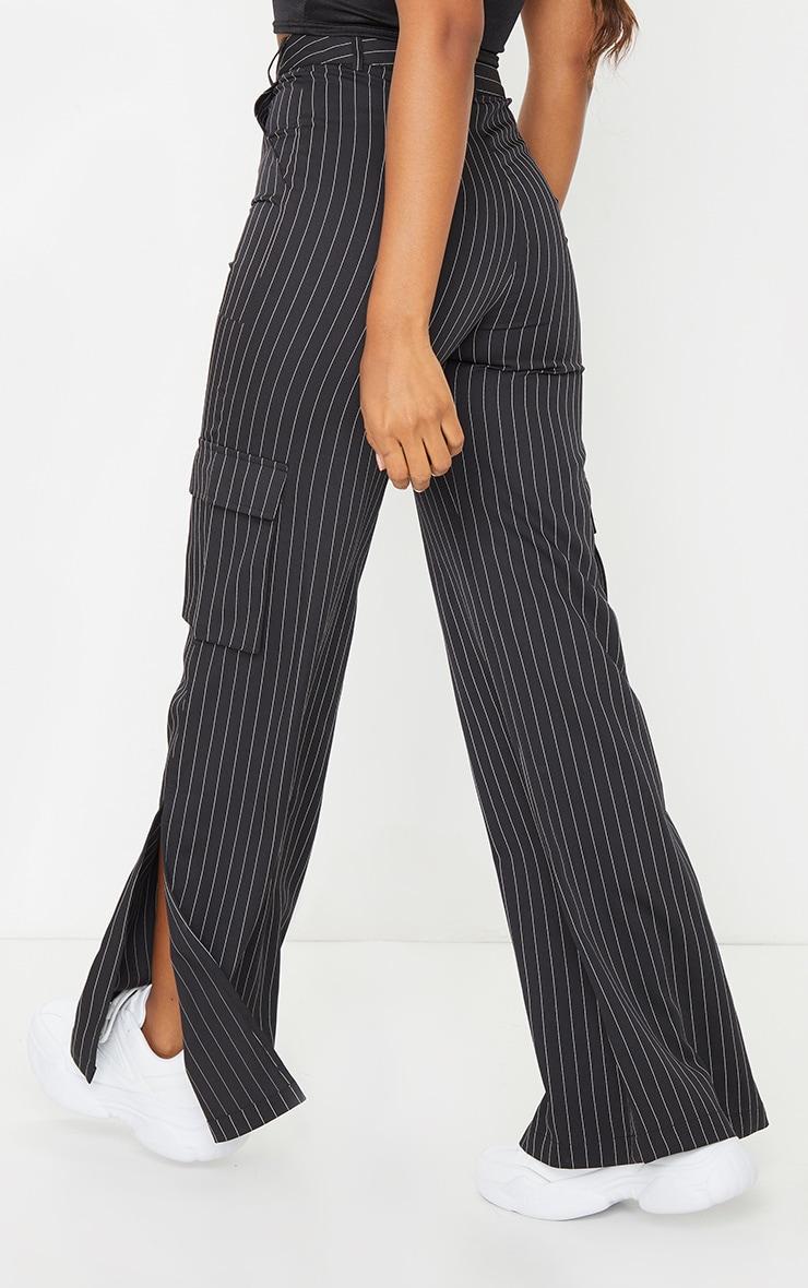 Black Pinstripe Wide Leg Pocket Detail Trousers 3