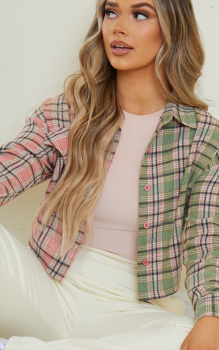 Pink Flannel Check Spliced Crop Shirt 4