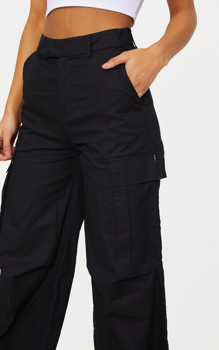 Black Wide Leg Cargo Pants 5