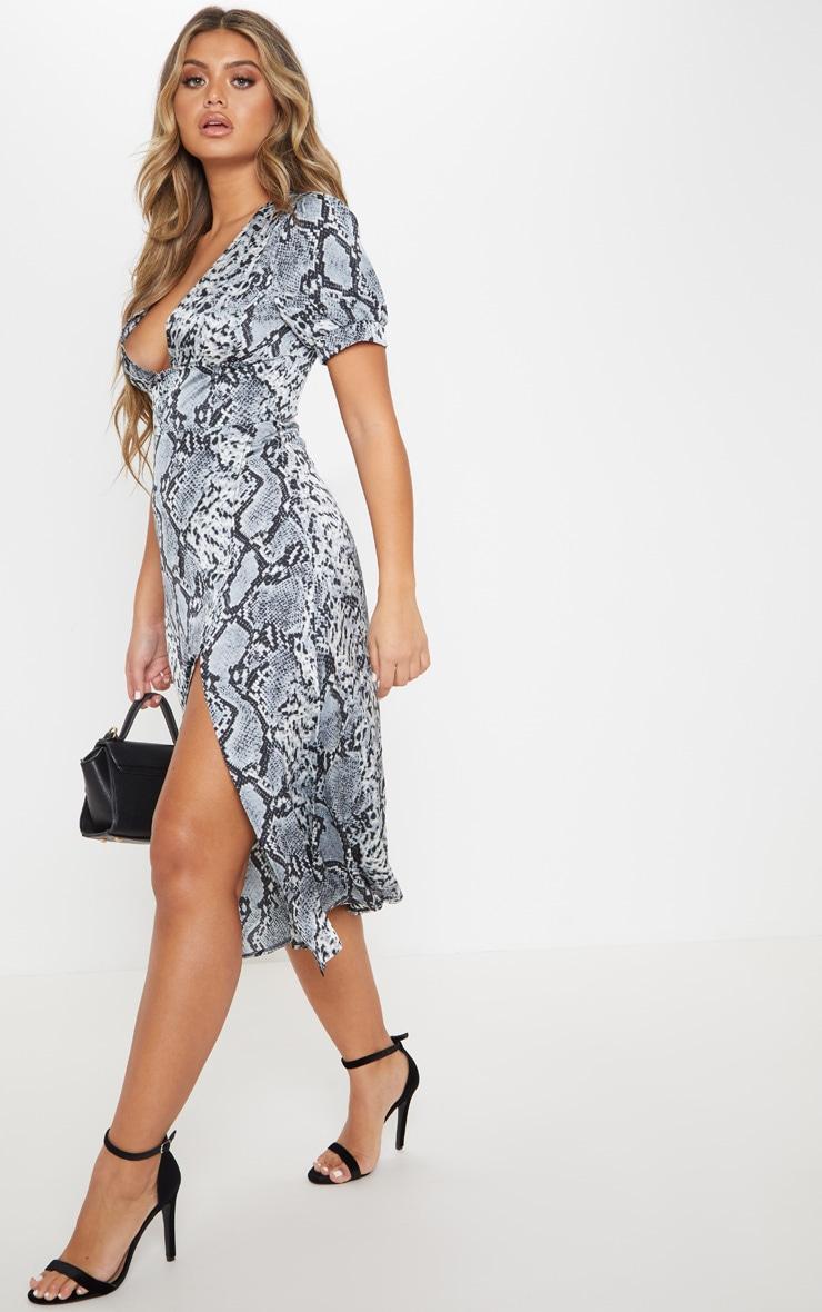 Robe mi-longue grise imprimé serpent avec partie jupe portefeuille  4