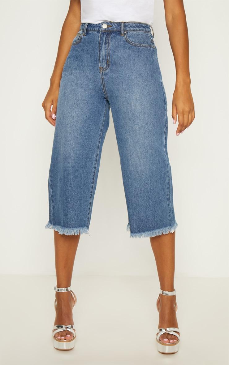 Mid Wash Denim Wide Leg Culottes 4