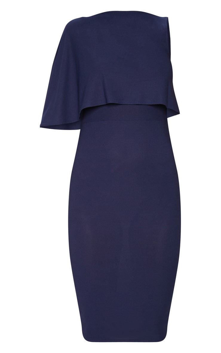 Navy One Shoulder Cape Detail Midi Dress 3
