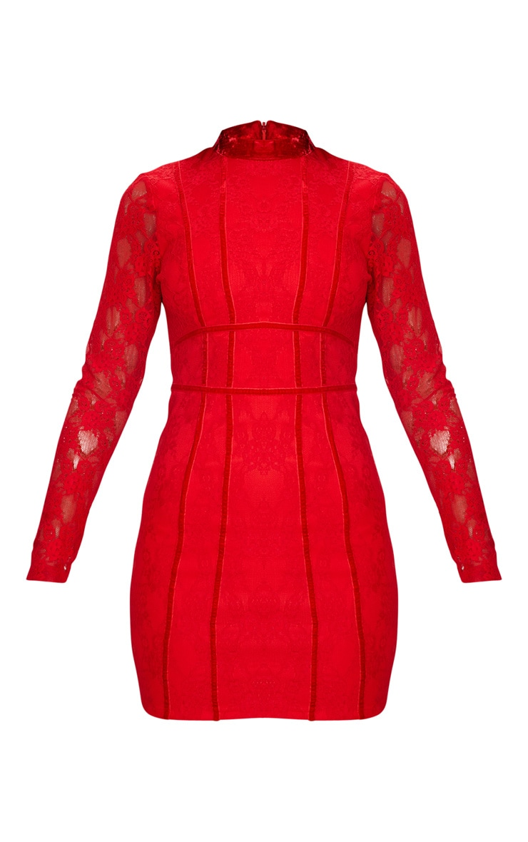 Red Lace Piping Detail Bodycon Dress 3
