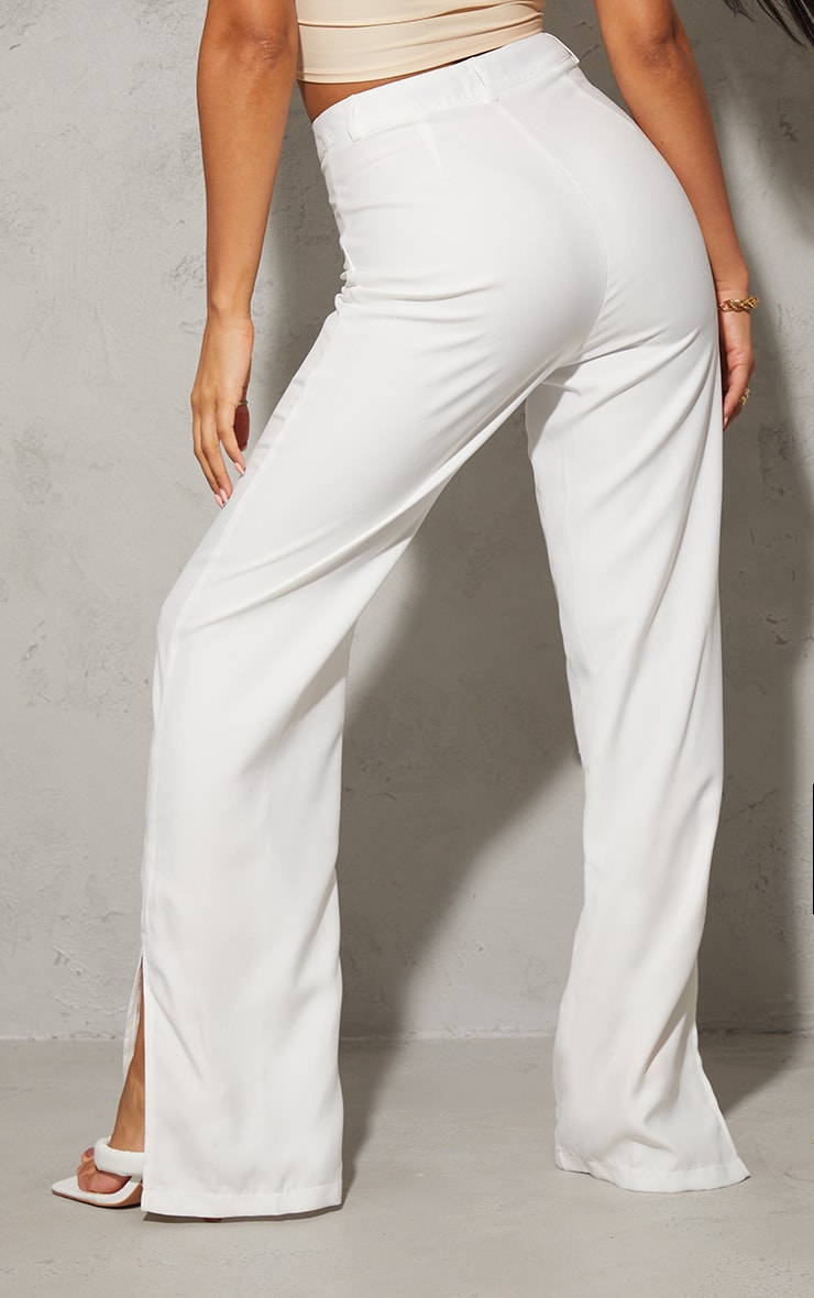 White Pintuck Detail Split Hem Woven Trousers 3