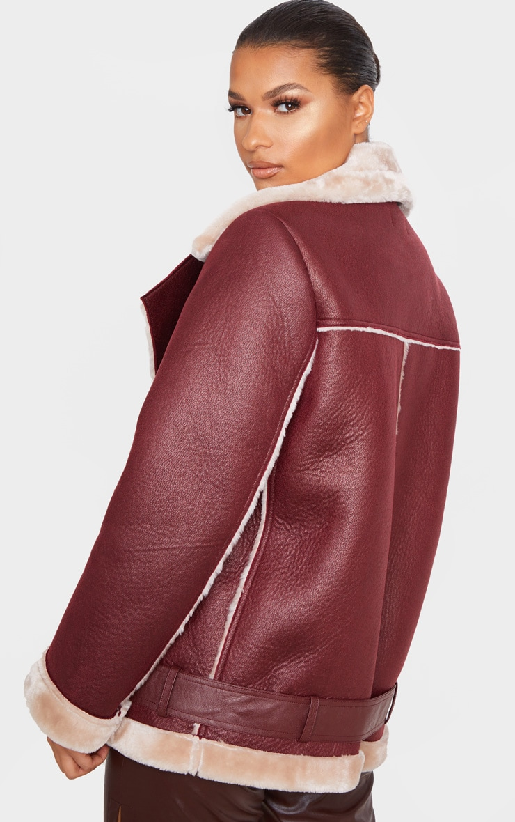 Burgundy PU Oversized Aviator Jacket 2