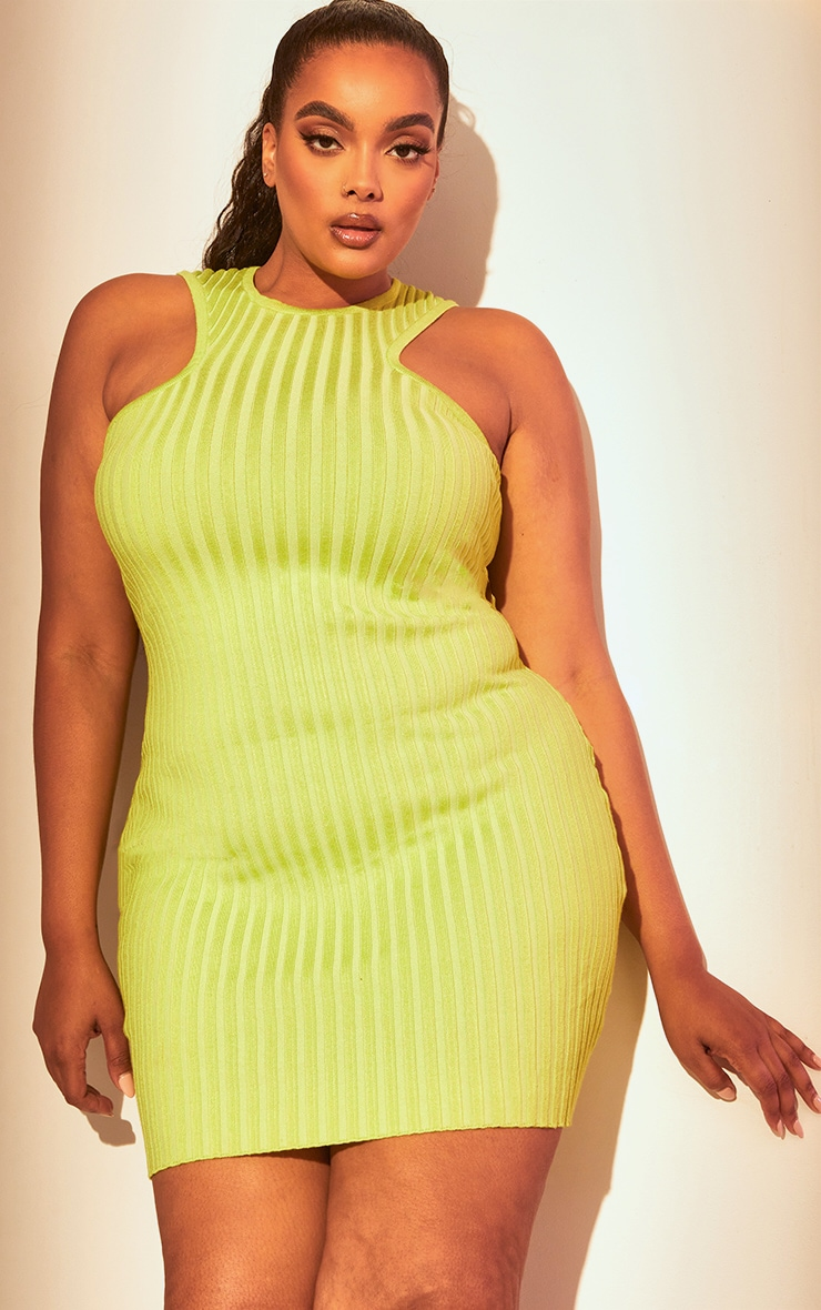 Plus Lime Knitted Racer Neck Bodycon Dress 1