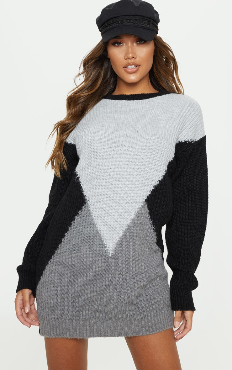 Charcoal Colour Block Knitted Jumper Dress 4