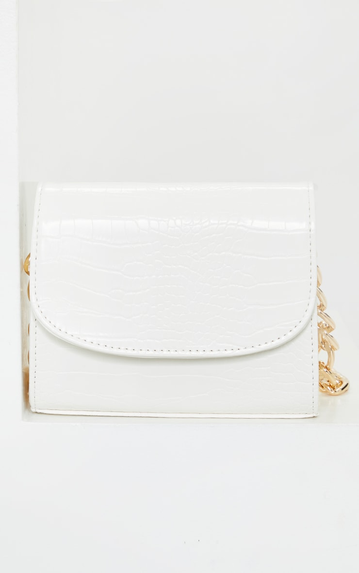 White Croc Chunky Chain Shoulder Bag 3