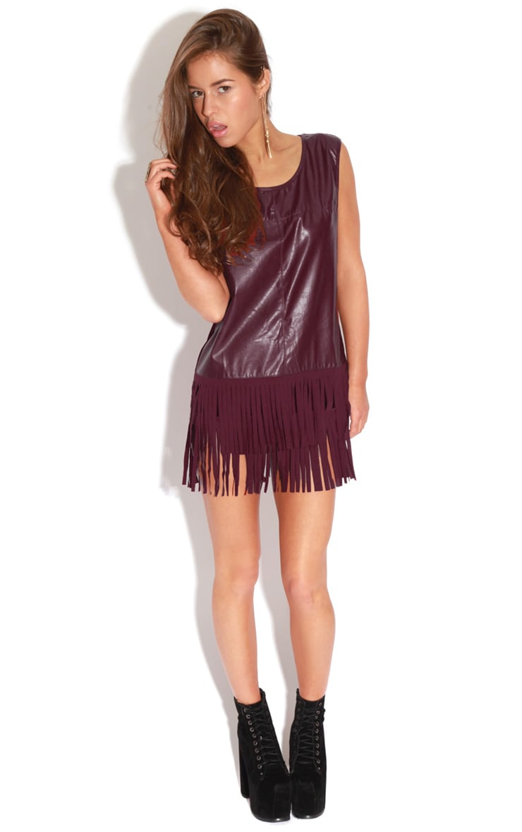 Jessica Burgundy PU Tassel Vest Dress 3