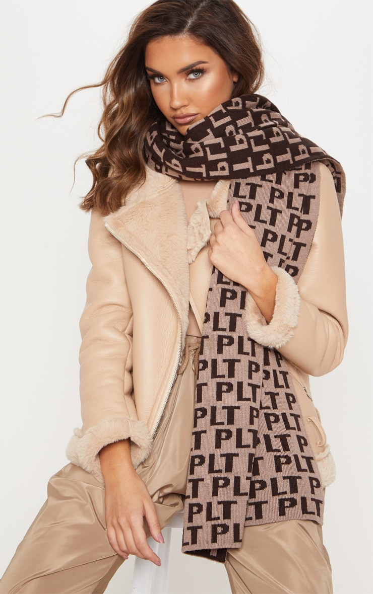 PRETTYLITTLETHING Brown Monogram Scarf 1