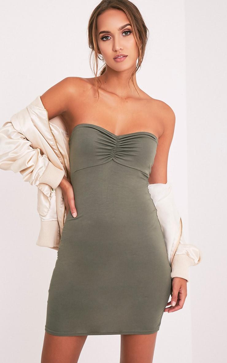 Leanna Khaki Jersey Bandeau Bodycon Dress 1