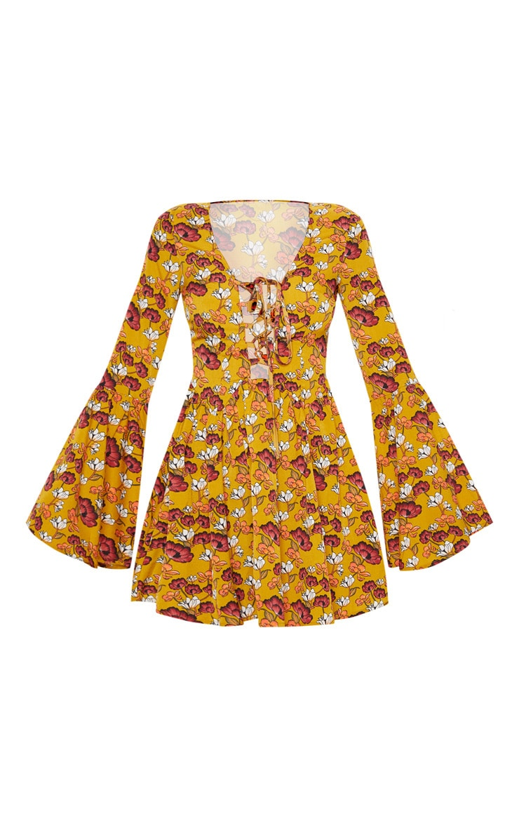 Mustard Floral Fluted Sleeve Strappy Detail Skater Dress 3