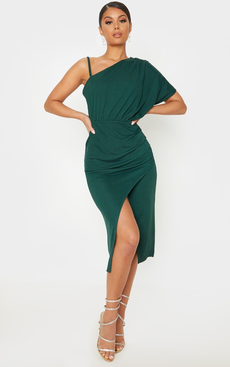 Emerald Green Drape Detail One Shoulder Midi Dress 1