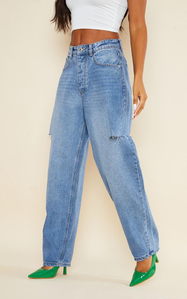 Mid Wash Thigh Split Baggy Boyfriend Jeans 2